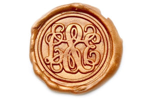 Vine Monogram Double Initials Wax Seal Stamp - Wax Seal Stamp - Backtozero