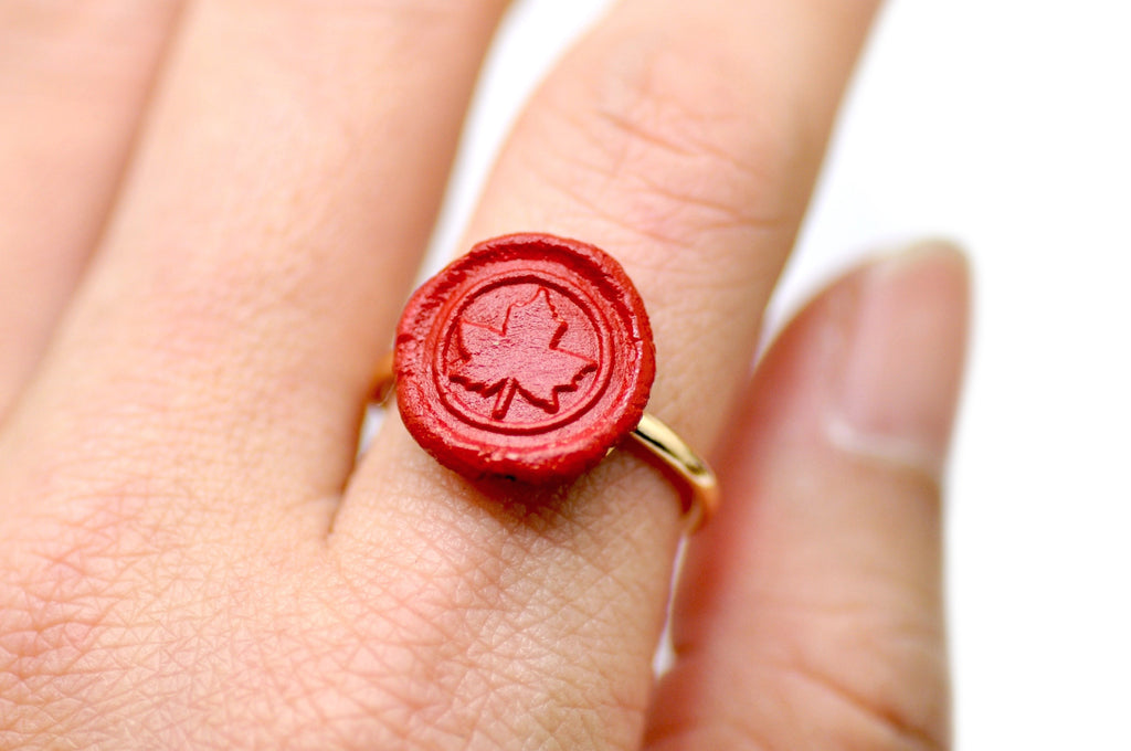 OOAK Maple Leaf Wax Seal Ring - Wax Seal Ring - Backtozero