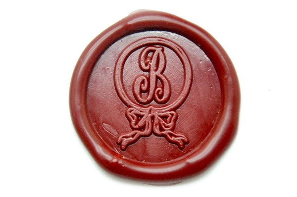 Ribbon Bow Ring Initial Wax Seal Stamp, Backtozero  - 1