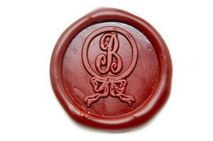 Ribbon Bow Ring Initial Wax Seal Stamp - Wax Seal Stamp - Backtozero