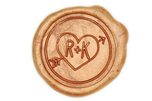 Heart and Arrow Double Initials Wax Seal Stamp - Backtozero