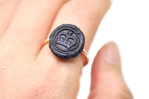 OOAK Royal Crown Wax Seal Ring - Wax Seal Ring - Backtozero