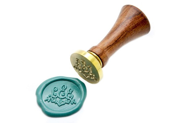 Floral Triple Initials Monogram Wax Seal Stamp, Backtozero  - 3