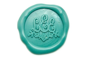 Floral Triple Initials Monogram Wax Seal Stamp - Backtozero