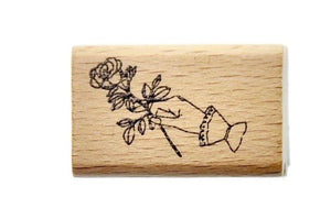Hand Gesture Rubber Stamp | Hand with Rose - Rubber Stamp - Backtozero