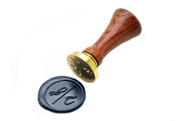 Linen & Leaf Modern Calligraphy Monogram Wax Seal Stamp, Backtozero  - 1