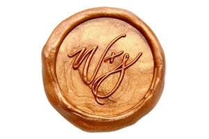 Linen & Leaf Modern Calligraphy Wedding Wax Seal Stamp, Backtozero  - 1