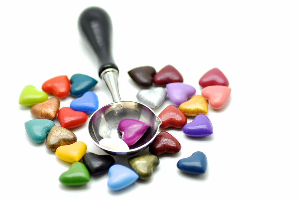Yellow Sealing Wax Heart Bead, Backtozero  - 8