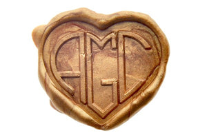 Heart Triple Initials Monogram Wax Seal Stamp - Wax Seal Stamp - Backtozero