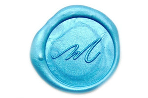 Linen & Leaf Modern Calligraphy Initial Wax Seal Stamp, Backtozero  - 1