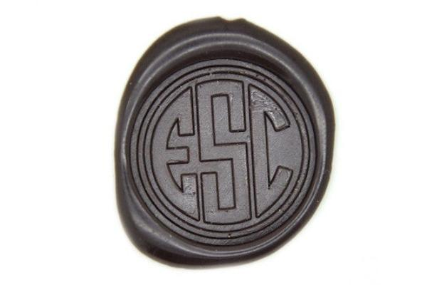 Triple Initials Circle Monogram Wax Seal Stamp, Backtozero  - 1