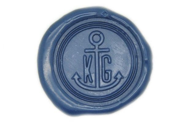 Anchor Double Initials Wax Seal Stamp - Wax Seal Stamp - Backtozero