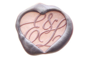Heart Double Initials Monogram Wax Seal Stamp - Wax Seal Stamp - Backtozero