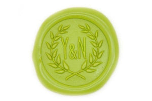Double Initials Wreath Wax Seal Stamp - Wax Seal Stamp - Backtozero