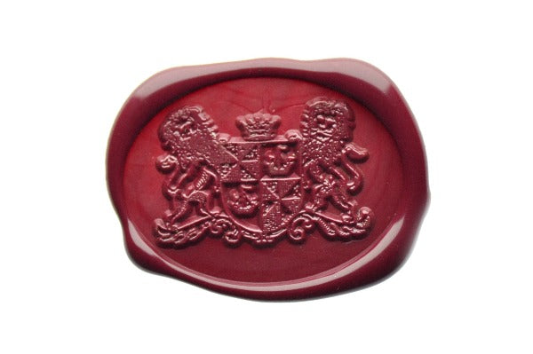 Heraldic Coat Of Arms Lion Crown Shield Wax Seal Stamp