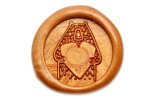 Bear with Heart Wax Seal Stamp - Wax Seal Stamp - Backtozero