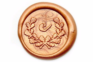 Calligraphy Laurel Wreath Initial Wax Seal Stamp - Backtozero