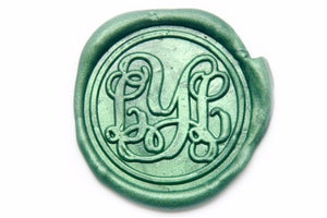 Vine Triple Initials Monogram Wax Seal Stamp, Backtozero  - 1