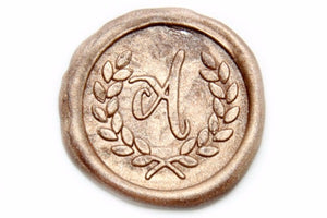 Laurel Wreath Initial Wax Seal Stamp, Backtozero  - 1