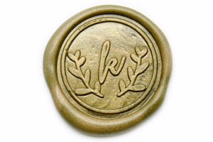 Laurel Wreath Initial Wax Seal Stamp | Available in 4 Sizes - Wax Seal Stamp - Backtozero