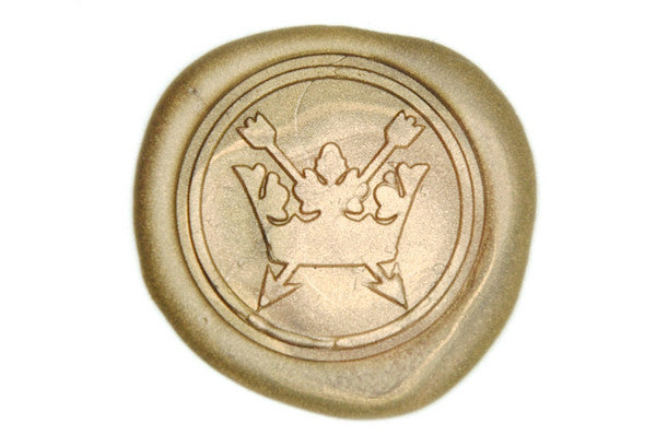 Crossed Arrow Crown Wax Seal Stamp - Wax Seal Stamp - Backtozero