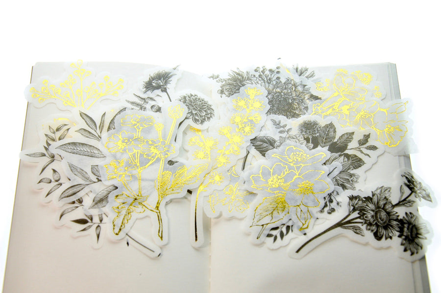Translucent Stickers Set | Black & Gold Foil Botanicals