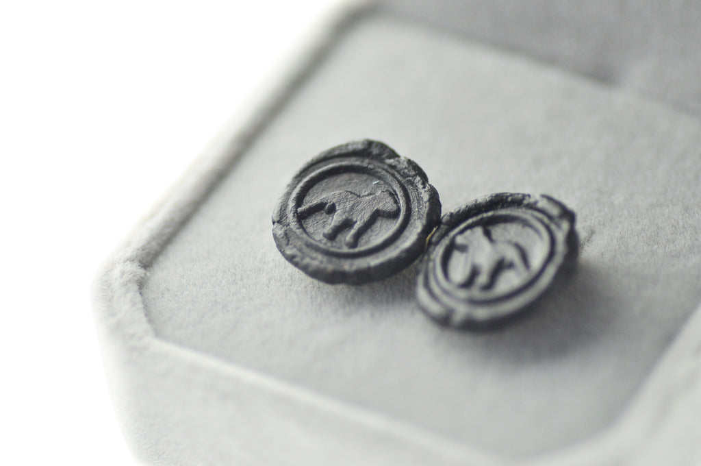 OOAK Pitbull Wax Seal Earrings - Wax Seal Earrings - Backtozero