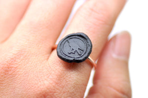 OOAK Raven Wax Seal Ring - Wax Seal Ring - Backtozero