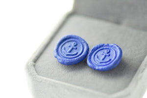 OOAK Anchor Wax Seal Earrings - Wax Seal Earrings - Backtozero