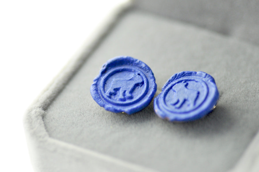 OOAK Boston Terrier Wax Seal Earrings - Wax Seal Earrings - Backtozero