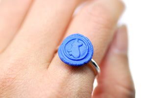 OOAK French Bulldog Wax Seal Ring - Wax Seal Ring - Backtozero