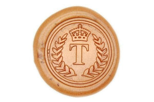 Wreath Crown Initial Wax Seal Stamp - Wax Seal Stamp - Backtozero