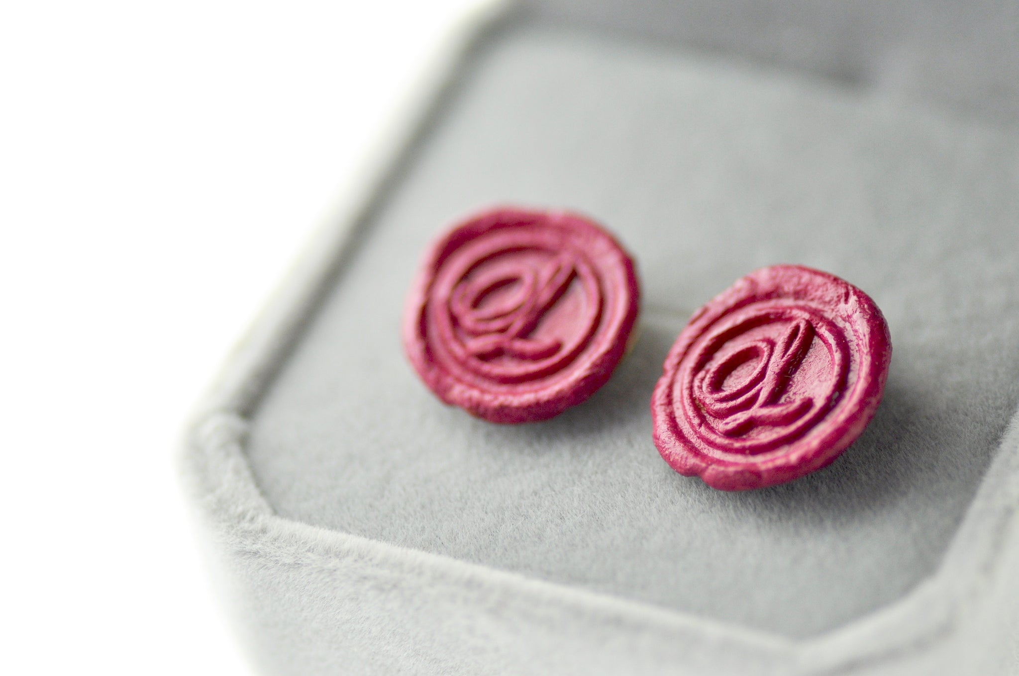 OOAK Script Initial Wax Seal Earrings