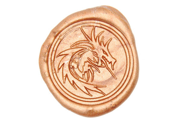 Fire Dragon Heraldic Mythical Wax Seal Stamp Backtozero