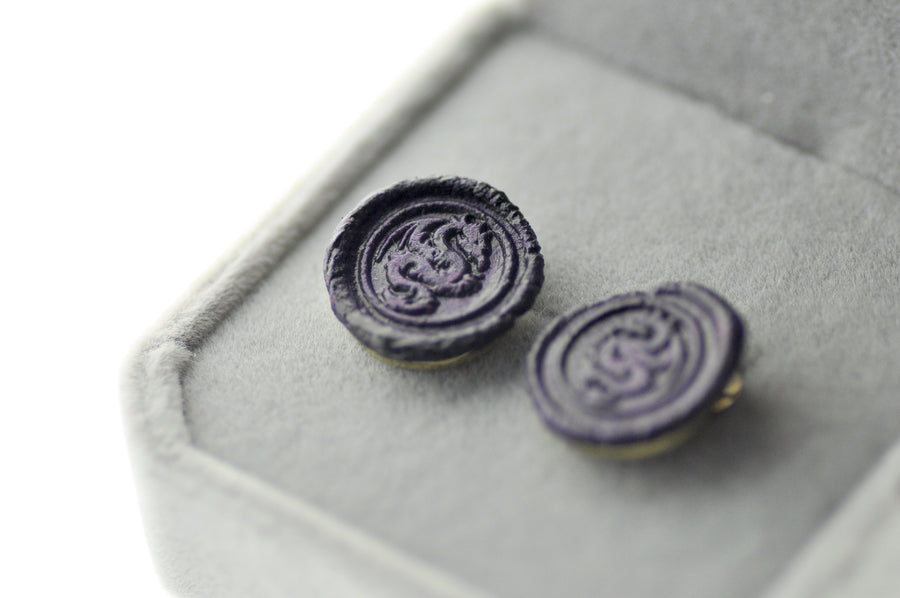 OOAK Dragon Wax Seal Earrings - Wax Seal Earrings - Backtozero