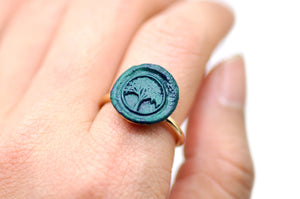 OOAK Tree Wax Seal Ring - Wax Seal Ring - Backtozero