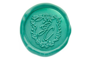 Floral Shield Monogram Wax Seal Stamp - Wax Seal Stamp - Backtozero