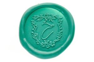 Floral Shield Initial Wax Seal Stamp