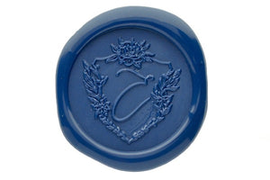 Floral Shield Initial Wax Seal Stamp - Wax Seal Stamp - Backtozero