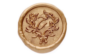 Floral Wreath Initial Wax Seal Stamp - Wax Seal Stamp - Backtozero