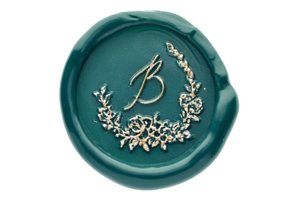Floral Wreath Initial Wax Seal Stamp - Backtozero