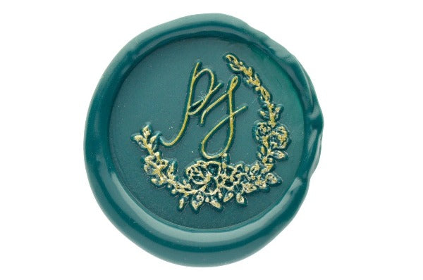 Floral Wreath Monogram Wax Seal Stamp - Wax Seal Stamp - Backtozero