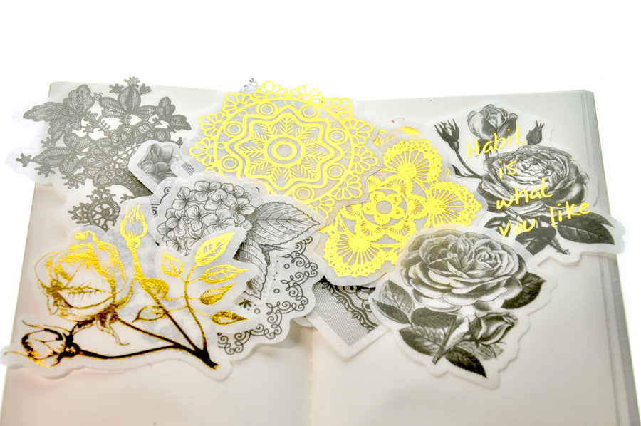Translucent Stickers Set | Black & Gold Foil Flower & Lace