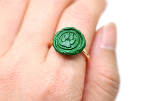OOAK Paw Wax Seal Ring - Wax Seal Ring - Backtozero