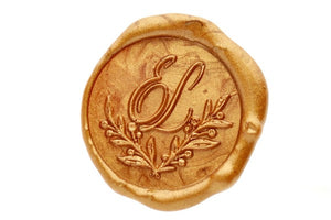 Botanical Wreath Monogram Wax Seal Stamp - Wax Seal Stamp - Backtozero