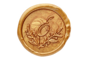 Botanical Wreath Initial Wax Seal Stamp - Wax Seal Stamp - Backtozero