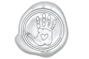Handprint with Heart Wax Seal Stamp - Wax Seal Stamp - Backtozero