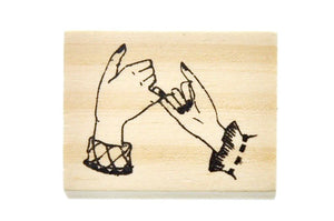 Hand Gesture Rubber Stamp | Pinky Promise - Rubber Stamp - Backtozero