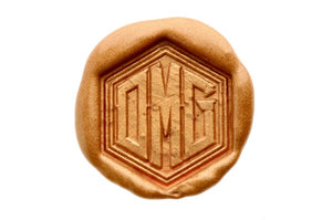 Hexagon Triple Initials Monogram Wax Seal Stamp - Backtozero