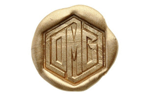 Hexagon Triple Initials Linked Monogram Wax Seal Stamp - Backtozero